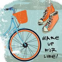 Gumshoes esboçar hipster de bicicleta vetor