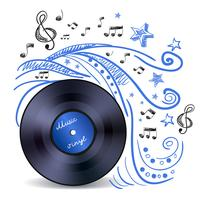 Vinil música doodle vetor
