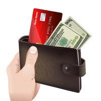Mão segurando carteira de couro clássica vetor