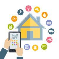 Mão segurando o celular controla casa inteligente