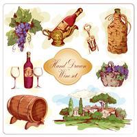 Conjunto de ícones coloridos de vinho