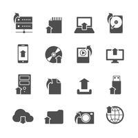 Conjunto de ícones de símbolos de upload de Internet vetor