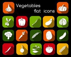 Ícones planos de legumes