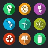 Conjunto de ícones de energia plana e ecologia