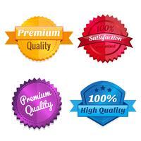 Conjunto de emblemas de oferta de produtos vetor