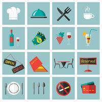 Conjunto de ícones de comida de restaurante