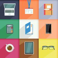 Conjunto de ícones de negócios no local de trabalho vetor