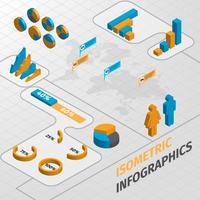 Elementos de design de infográficos de negócios isométrica