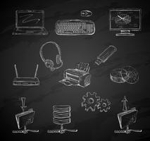 Conjunto de ícones de computador de negócios