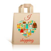 Símbolo de saco de compras de coração de amor vetor