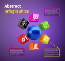 Infográfico de esfera de cubos e 3d