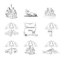 Conjunto de ícones de segurança de seguros