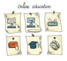 Conjunto de adesivos de educação on-line vetor