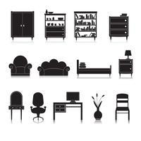 Móveis ícones preto
