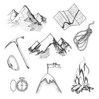 Alpinismo, acampamento, ícones