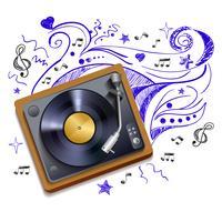 Música, doodle, vinil, jogador registro vetor
