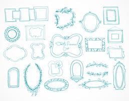 Coleção de quadros de doodle de mão desenhada