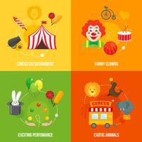 Composição de ícones retrô de circo vetor