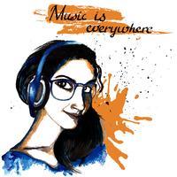 Música de hipster de tinta de menina