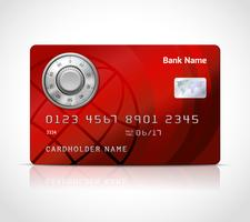 Modelo de cartão de crédito realista com bloqueio de código