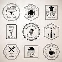 Etiquetas de menu de restaurante pretas vetor