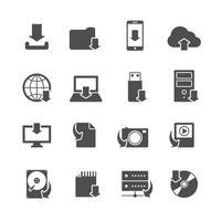 Conjunto de ícones de símbolos de download de Internet