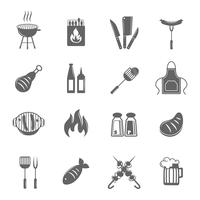 Conjunto de ícones de grelha de churrasco vetor