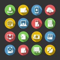Conjunto de ícones de símbolos de download de Internet vetor