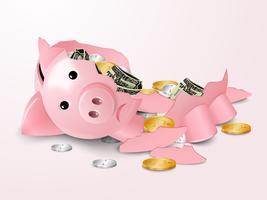 Piggybank quebrado vetor