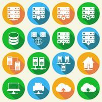 Conjunto de ícones de tecnologia de hospedagem