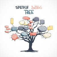 Doodle falar bolhas crescendo na árvore