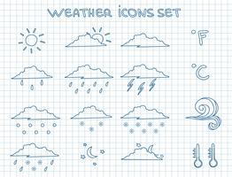 Conjunto de pictogramas de previsão do tempo vetor