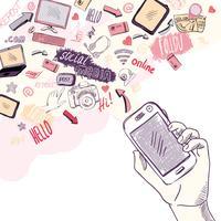 Mão segurando o telefone móvel com aplicativos de mídia social