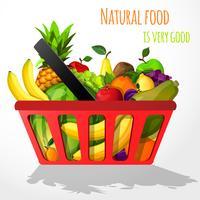 Frutas no cartaz de cesta de compras
