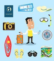 Conjunto de caracteres de férias ou viajante de negócios