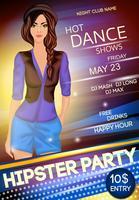 Cartaz de festa de hipster de clube de noite