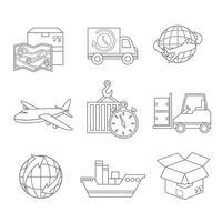 Contorno de ícones logísticos