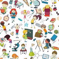 Padrão sem emenda de esboço de escola de crianças