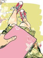 Gumshoes esboçar menina de pernas vetor