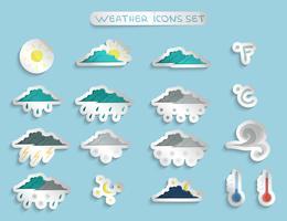 Adesivos de previsão do tempo ou emblemas definidos