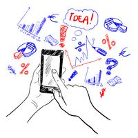 Mãos, touchscreen, esboço, negócio vetor