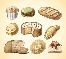Conjunto de ícones decorativos de pastelaria e pão