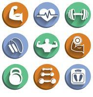 Conjunto de ícones de esporte de fisiculturismo fitness