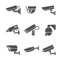 Conjunto de ícones de câmeras de segurança vetor