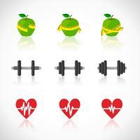 Conjunto de ícones de progresso de exercícios de fitness