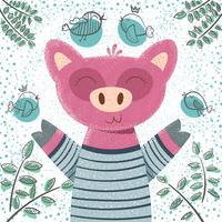 Porco bonito do inverno - ilustração das crianças. vetor
