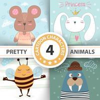 Desenhos animados conjunto animais urso, coelho, abelha, morsa.