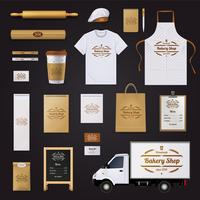 Conjunto de Design de modelo de identidade corporativa de padaria