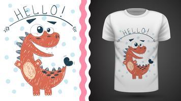 Dinossauro bonito da princesa - ideia para o t-shirt da cópia. vetor