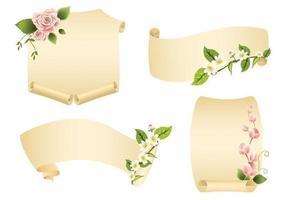 Pacote de vetores de banner de rolagem floral